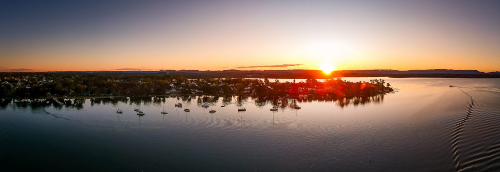 Sunset over Lake Macquarie from the sky