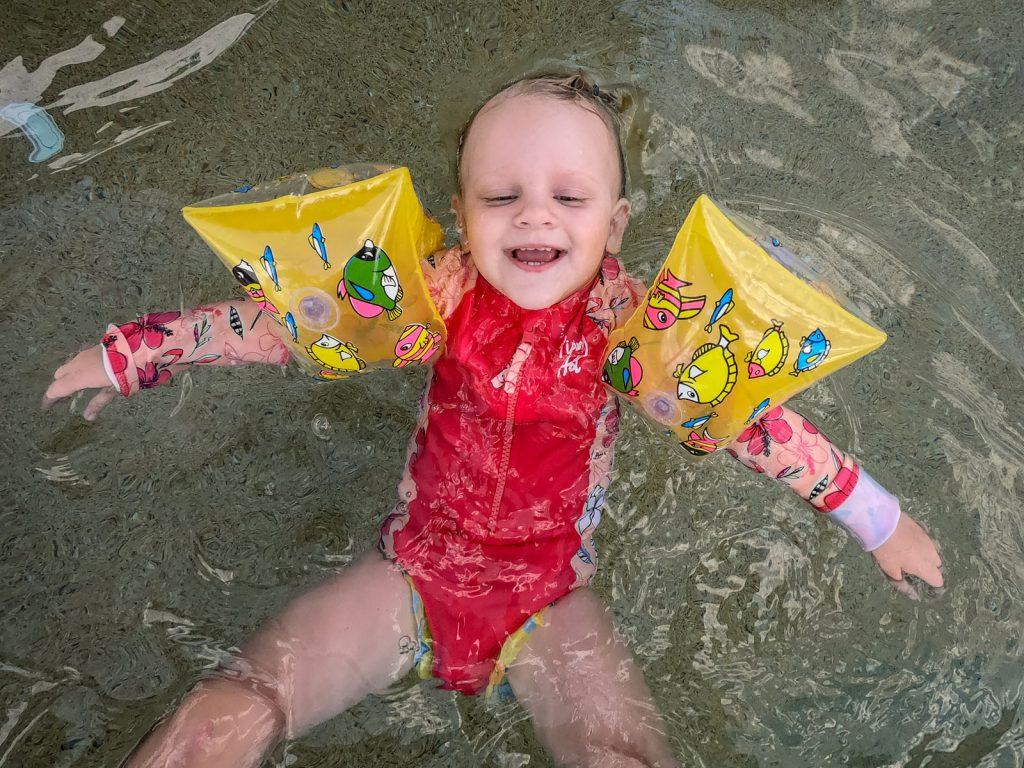 Katie loving the pool