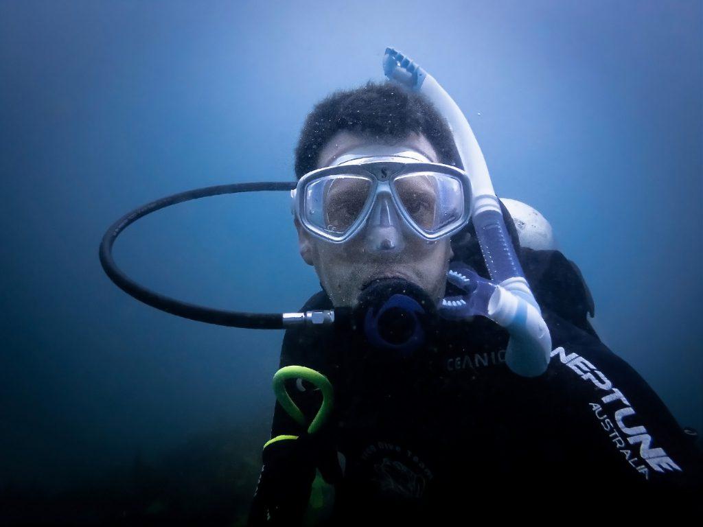 Warren diving at Bare Island
