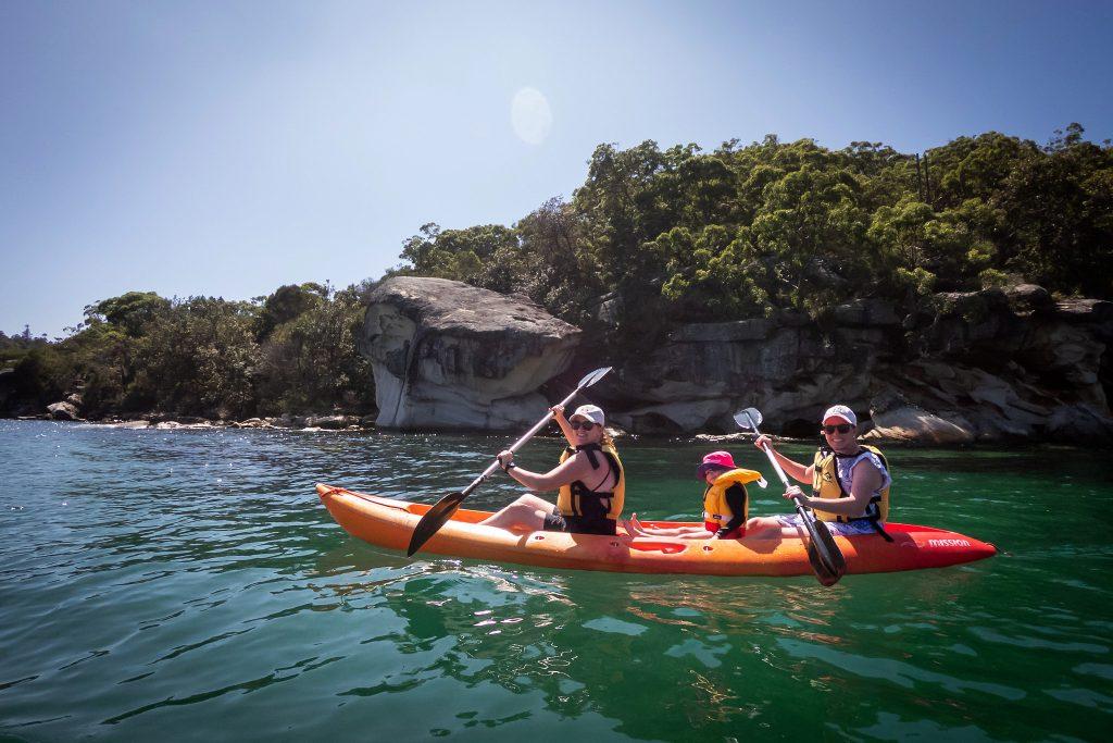 Sharon, Katie and Kerry exploring on a kayak