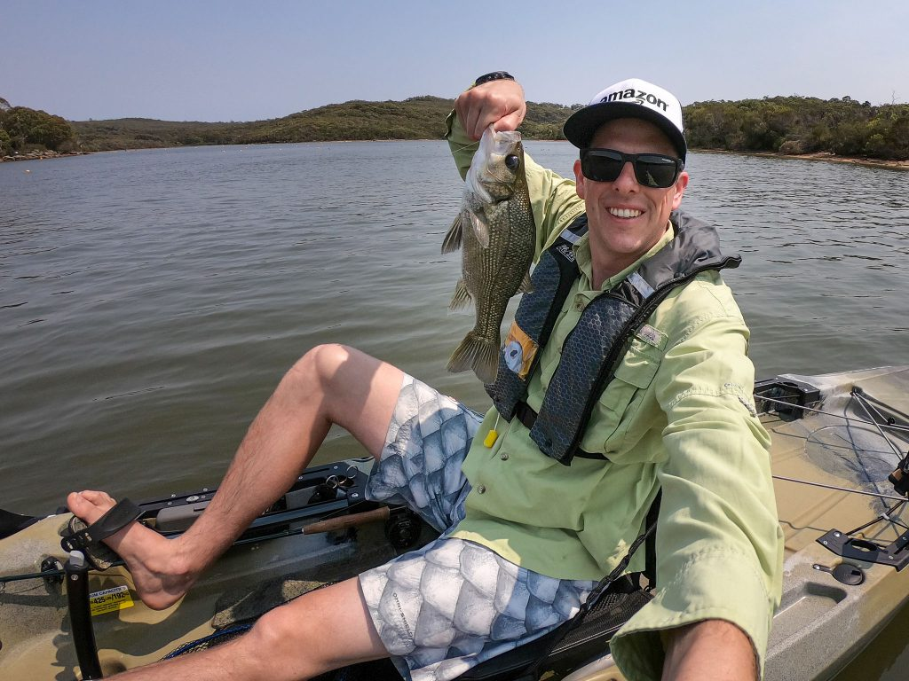 My first Aussie bass on fly, and fish off the Hobie