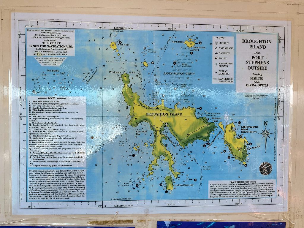 Map of the Broughton Island dive sites