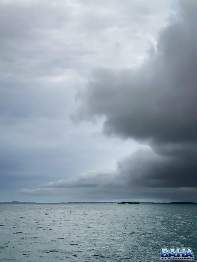 Rain moving in over Moreton Bay