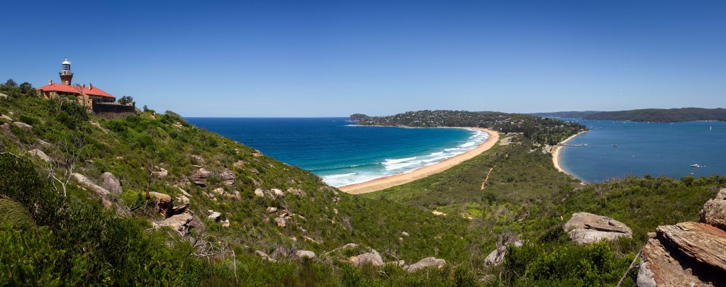 Panoramic view of Palm Beach and Pittwater