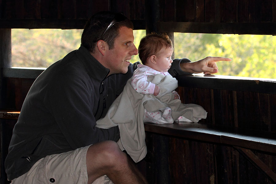 My daughter and I in a hide