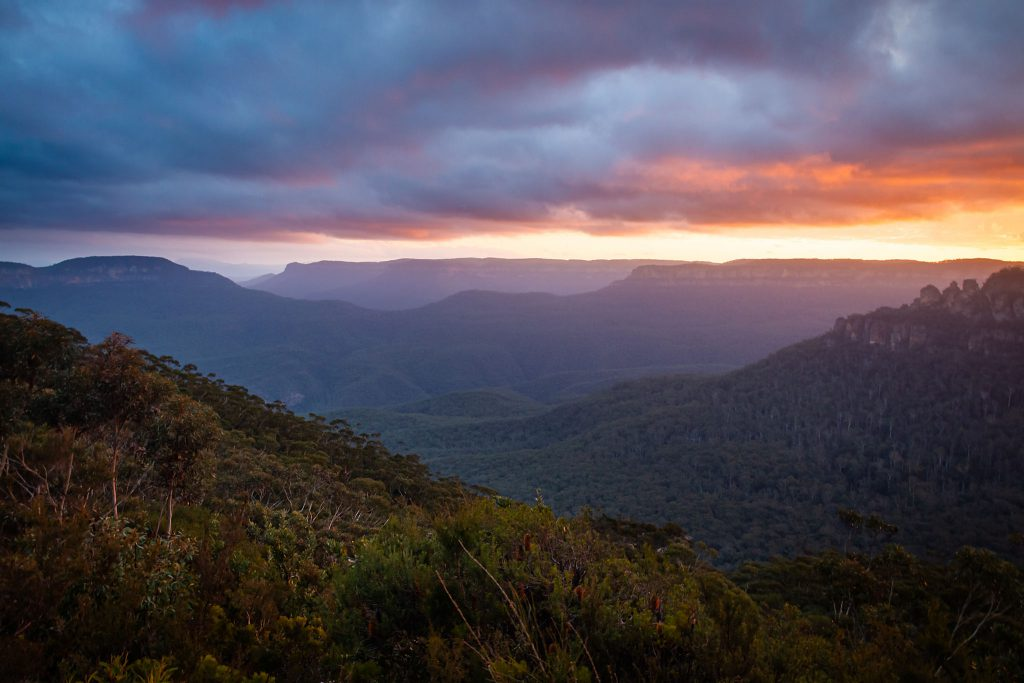 The Blue Mountains National Park at sunset