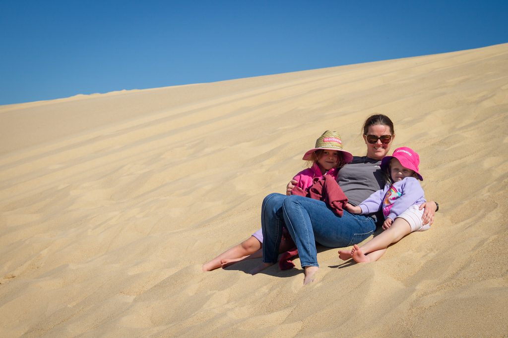 The girls relaxing on the dunes