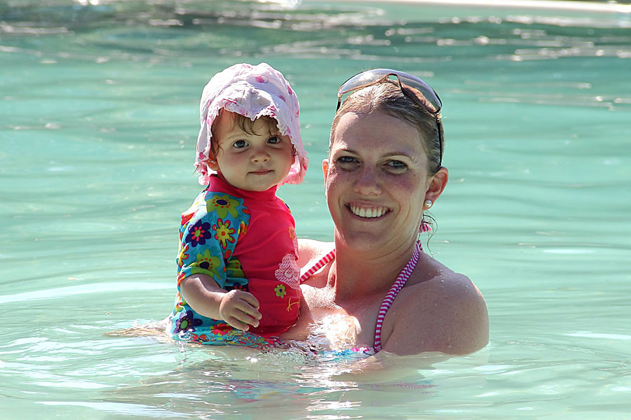 Kerry and Emma swimming