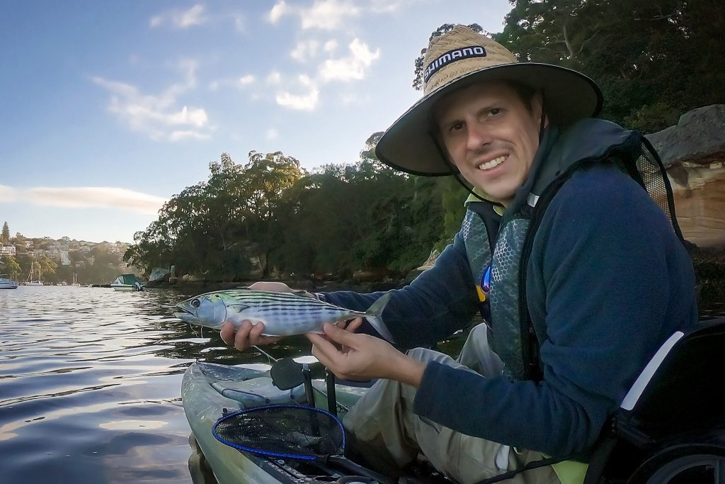 Warren with an Australian bonito caught on fly